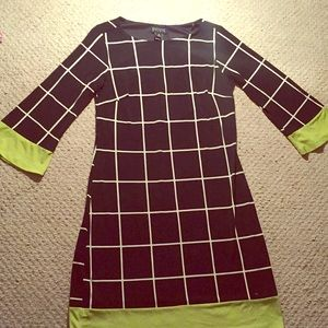 Checkered black and green dress